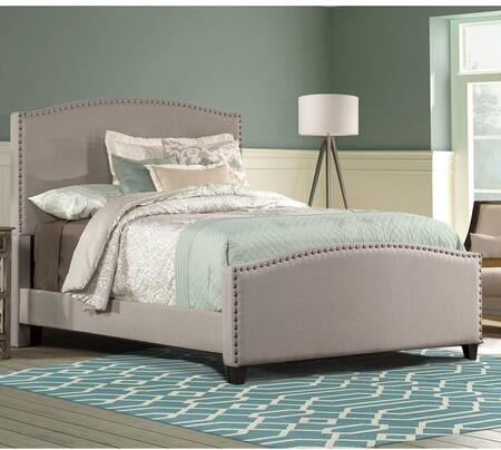 Kerstein Collection 1932BQR Queen Size Bed with Headboard  Footboard  Rails  Fabric Upholstery  Decorative Nail Head Trim and Sturdy Wood Construction in Dove