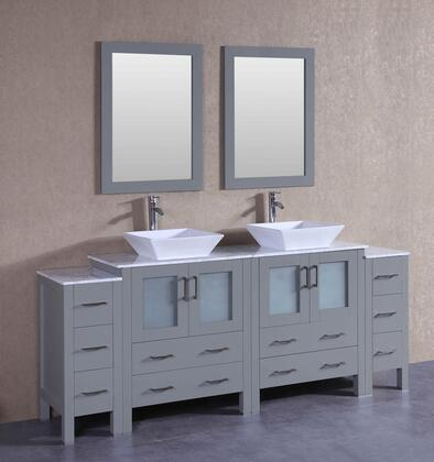 AGR230SQCM2S 84 inch  Double Vanity with Carrara Marble Top  Flared Square White Ceramic Vessel Sink  F-S02 Faucet  Mirror  4 Doors and 10 Drawers in