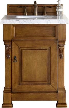Brookfield Collection 147-114-V26-COK-3SNW 26 inch  Country Oak Single Vanity with One Soft Closing Door  Backsplash  Hand Carved Filigrees and 3 CM Snow White
