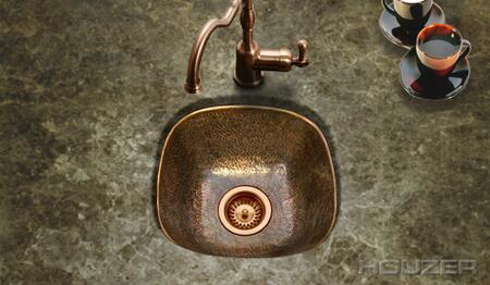 HW-LAG1BF Hammerwerks Series Undermount Copper Single Bowl Bar/Prep Sink  Antique