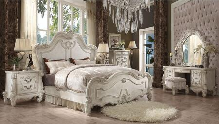 Versailles Collection 21147EK7SET 7 PC Bedroom Set with Eastern King Size Bed + Mirror + Chest + 2 Nightstands + Vanity Desk + Vanity Stool in Bone White