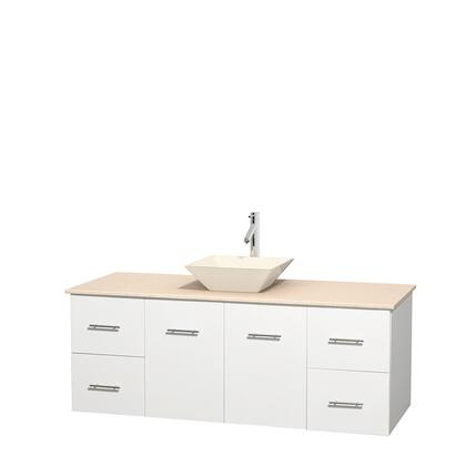 Wcvw00960swhivd2bmxx 60 In. Single Bathroom Vanity In White  Ivory Marble Countertop  Pyra Bone Porcelain Sink  And No