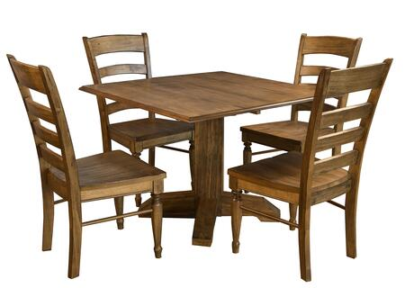 Bennett Collection BENSQDLT4SC 5-Piece Dining Room Set with Square Drop Leaf Table and 4x Side Chairs in Smoky