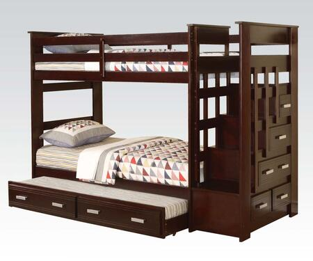 Allentown Collection 10170B Twin Over Twin Size Bunk Bed with Storage Ladder  Trundle Included  Staircase Drawers  Center Wood Glide Drawer and Full Length