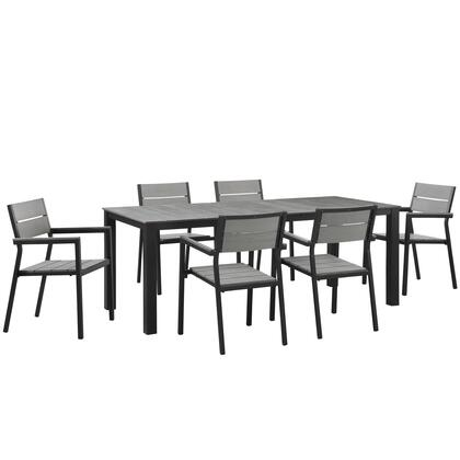 Maine Collection Eei-1751-brn-gry-set 7 Pc Outdoor Patio Dining Set With Solid Grey Polywood Slats  Wooden Plank Boards  Powder Coated Aluminum Frame And