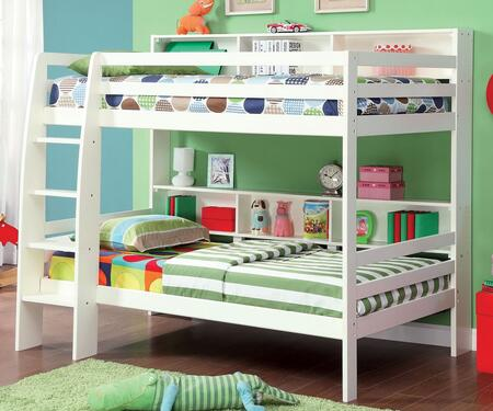 Camino Collection CM-BK613WH-BED Twin Size Bunk Bed with Attached Ladder  Shelves  13 PC Slats Top and Bottom  Solid Wood and Wood Veneers Construction in