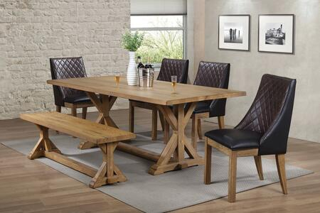 Douglas Collection 107221-S622 6-Piece Dining Room Set with Rectangular Dining Table  4 Side Chairs and Bench in Vintage White Oak
