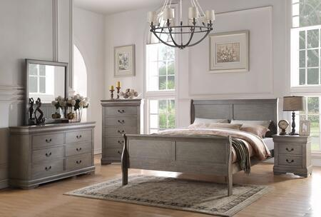 Louis Philippe III Collection 25494CKSET 5 PC Bedroom Set with California King Size + Dresser + Mirror + Chest + Nightstand in Antique Grey