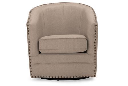 DB-182-BEIGE Baxton Studio Porter Modern and Contemporary Classic Retro Beige Fabric Upholstered Swivel Tub