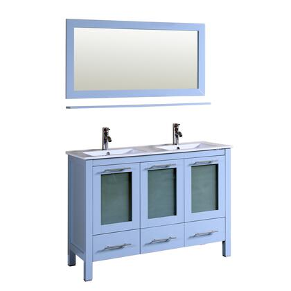 9180-GREY Sabrael 48 inch  Double Vanity In Blue Grey With Porcelain Vanity Top In White And