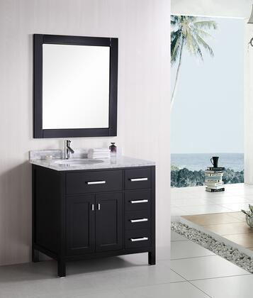 DEC076D-R London 36 inch  Single Sink Vanity Set in Espresso with Drawers on the