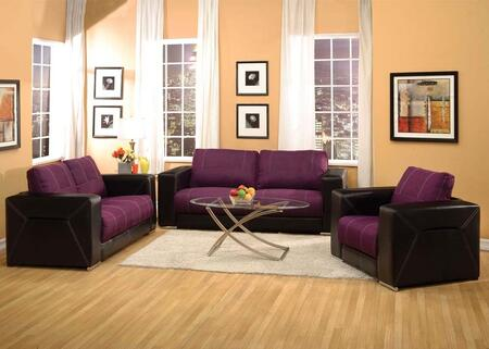 Brayden Collection 51680SLCT 6 PC Living Room Set with Sofa + Loveseat + Chair + 3 PC Table Set in Purple and Black