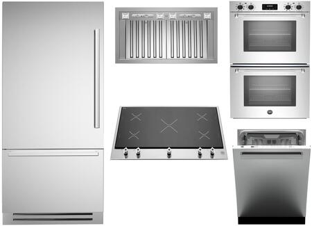 5-Piece Stainless Steel Kitchen Package with REF36PIXL 36 inch  Bottom Mount Refrigerator  PM360IGX 36 inch  Smooth Cooktop  MASFD30XV 30 inch  Double Wall Oven  KIN36PROX