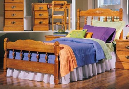 Carolina Oak 237330-3-971500 63 inch  Twin Sized Bed with Spindle Headboard  Footboard and Metal Slat-less Rails in Golden