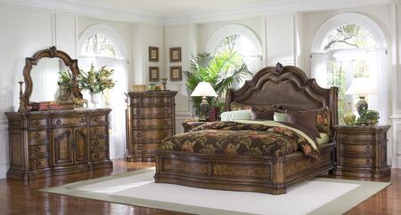 66217012bdmc2n San Mateo 6 Pc Bedroom Set With Queen Size Sleigh Bed + Dresser + Mirror + Chest + 2 Nightstands In Pecan Veneer Medium Brown