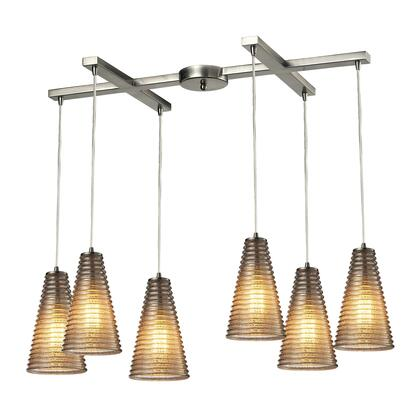 10333/6 Ribbed Glass Collection 6 Light chandelier in Satin 397786