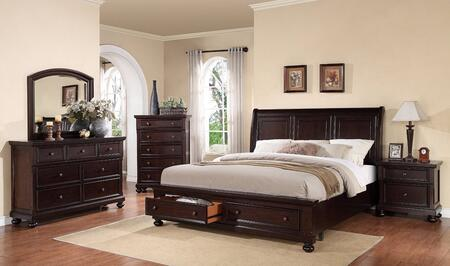 24604CKDMCN Grayson California King Size Storage Bed + Dresser + Mirror + Chest + Nightstand in Dark Walnut