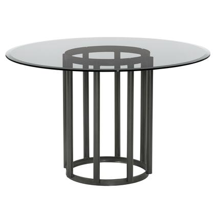 Denis Collection LCDNDIMFBS Contemporary Round Metal Dining Table in Mineral Finish with Clear Tempered Glass