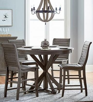 Willow Collection D801-CTROUND4SC 5-Piece Dining Room Sets with Round Counter Height Table and 4 Counter Height Chairs in Distressed Dark