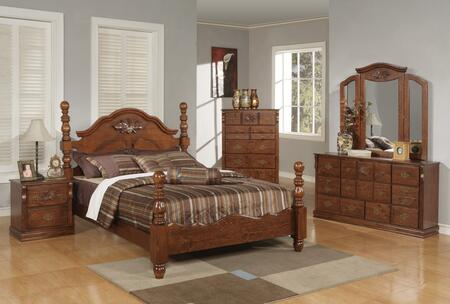 Ponderosa Collection 01717EK5PC Bedroom Set with Eastern King Size Bed + Dresser + Mirror + Chest + Nightstand in Walnut