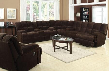 Ahearn 50475SLWR 4 PC Living Room Set with Sofa + Loveseat + Wedge + Recliner in Chocolate Champion