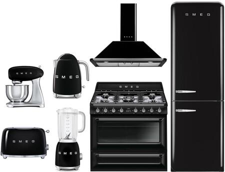 7-piece Black Kitchen Package With Fab32rnen1 24 Bottom Freezer Refrigerator  Tru90bl 36 Dual Fuel Range  Kt90pun 36 Range Hood  Smf01blus Stand Mixer