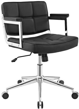 Portray Collection EEI-2686-BLK Office Chair with Adjustable Height  Swivel Seat  Five Dual-Wheel Nylon Casters  Chrome Aluminum Frame and Vinyl Upholstery in