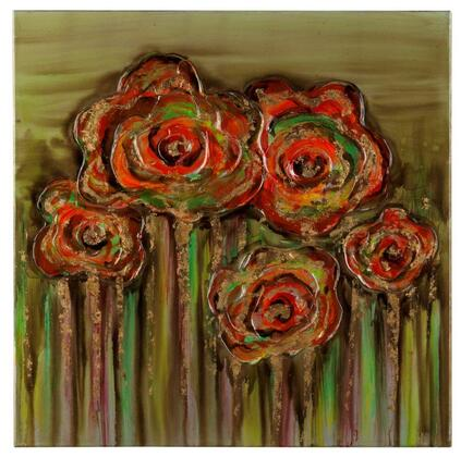 40813 Abstract Poppies in Hand Painted  High Gloss Textural Paint on