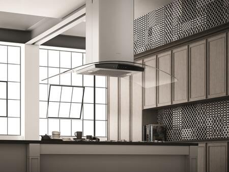 Elica ECN642S3 42 Curved Glass Island Mount Range Hood with Black Glass Front Panel