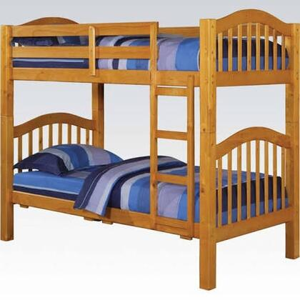 Heartland Collection 02359 Twin Over Twin Bunk Bed with Right Facing Front Ladder  Easy Access Guard Rail  Slat System Included and Wood Veneer Materials in