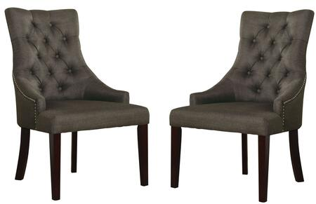 Drogo Collection 38 inch  Set of 2 Accent Chairs with Nailhead Trim  Button Tufted Back  Tapered Legs and Fabric Upholstery in Grey