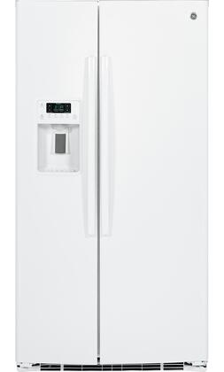 GE 25.4 Cu. Ft. Side-by-Side Refrigerator with Thru-the-Door Ice and Water White GSE25HGHWW