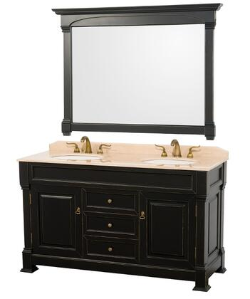 WCVTD60BLIV 60 in. Double Bathroom Vanity in Antique Black with Ivory Marble Top with White Undermount Sinks and 55 in.