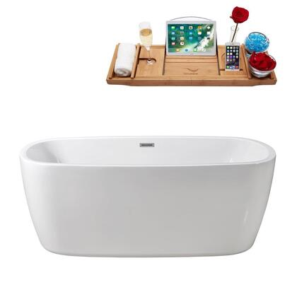 N78059FSWHFM 59 inch  Soaking Freestanding Tub with Internal Drain  Chrome Color Drain Assembly  147 Gallons Water Capacity  and Acrylic/Fiberglass Construction  in