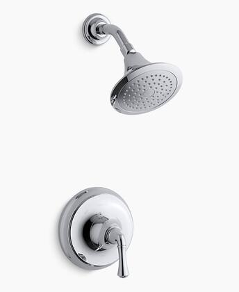 Forte Collection K-TS10276-4AE-CP Traditional Rite-Temp Shower Valve Trim with 2.0 GPM Showerhead  Single Handle  MasterClean Sprayface and Showerarm in