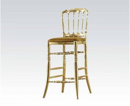 Janae Collection 59108 Set of 2 29 inch  Bar Stools with Padded Seat Cushion  Turned Tapered Legs and Footrest in Gold