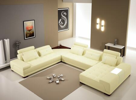 VGEV-SP-5005BCRM Divani Casa 5005B - Modern Bonded Leather Sectional Sofa w Ottoman and Glass End