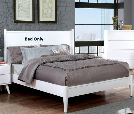Lennart II Collection CM7386WH-EK-BED Eastern King Size Panel Bed with Mid-Century Style  Tapered Legs  Wooden Headboard and Wood Veneer Construction in White
