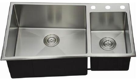 LIX-700 Aquino 33 1/2 inch  Double Bowl Undermount/Drop-in Kitchen Sink with Soundproofing System and Mounting Hardware in Stainless