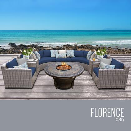 FLORENCE-08h-NAVY Florence 8 Piece Outdoor Wicker Patio Furniture Set 08h with 2 Covers: Grey and