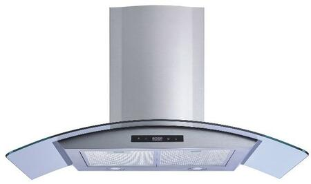 W101B36 36 inch  Wall Mount Range Hood with 450 CFM  Convertible Venting  Glass Canopy  in Stainless