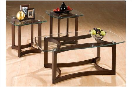 107 Bellingham 3 Piece Glass Top Table Set with Cocktail Table and 2 End Tables in Anigre
