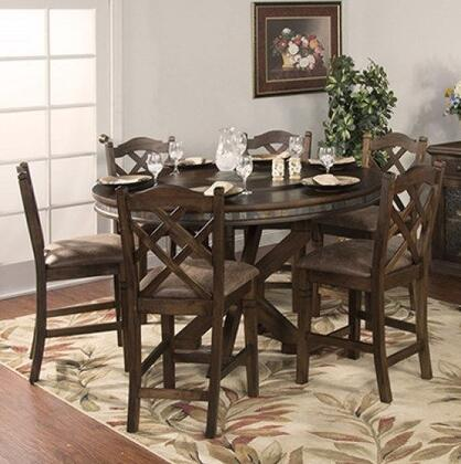 Savannah Collection 1365ACDT6C 7-Piece Dining Room Set with Round Dining Table and 6 Chairs in Antique Charcoal