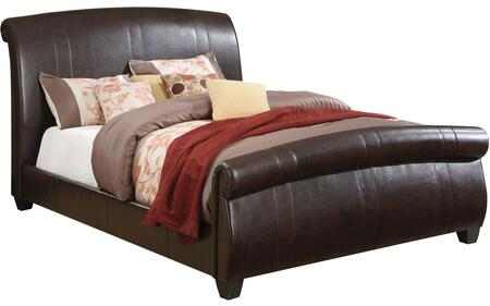Hammett Collection 24330Q Queen Size Bed with Wood Frame Construction  Plastic Legs and PU Leather Upholstery in Espresso