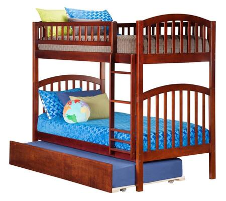 Richland AB64154 Twin Over Twin Bunk Bed With Urban Trundle Bed In Antique