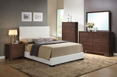 Ireland III Collection 14395FDMCN Full Size Bed + Dresser + Mirror + Chest + Nightstand in White