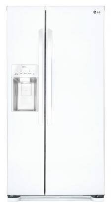 LG - 22.1 Cu. Ft. Side-by-Side Refrigerator with Thru-the-Door Ice and Water - White LSXS22423W