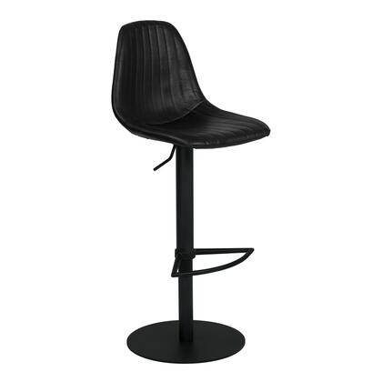 Melrose Collection LCMEBAVB Adjustable Metal Barstool in Vintage Black Faux Leather with Black Powder Coated