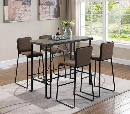 182131-S5 5-Piece Bar Table Set with Bar Table and 4 Bar Stools in Weathered Taupe and