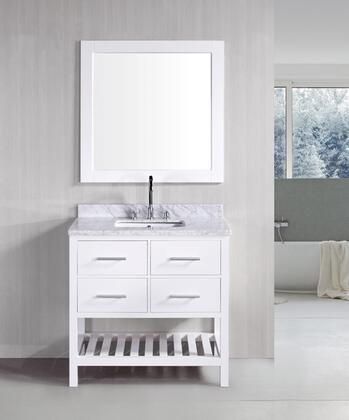 DEC077A-W London 36 inch  Single Sink Vanity Set in